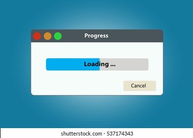 Loading data window with progress bar