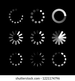 Loading icon. Circle website buffer loader or preloader. Vector download or upload status icon set. Vector illustration.