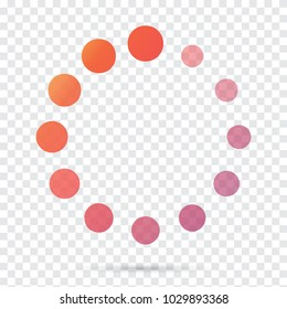Loading icon, circles showing downloading collection of colorful on transparent background. Vector illustration eps 10.