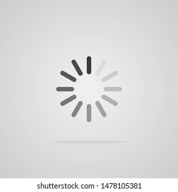 Loading icon isolated on gray background. Flat style. Vector illustration.