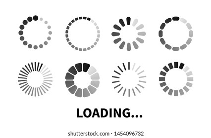 Loading icon. Progress bar for upload download round process. Loading icon, element for website and software. Vector element for web design, software, app and interface.