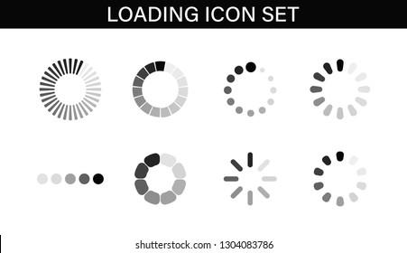 Loading icon set. Buffer loader or preloader. Donload or Upload. Collection of simple web download. Vector illustration