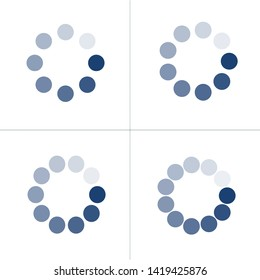 Loading icon set with different number of dots or circles. Buffer loader or preloader. Donload or Upload. Collection of simple web download. Vector illustration