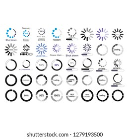 Loading icon set. Simple template of gradually upload or download indicator.