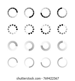 Loading icon set. Simple template of gradually upload or download indicator. Vector illustration isolated on white background