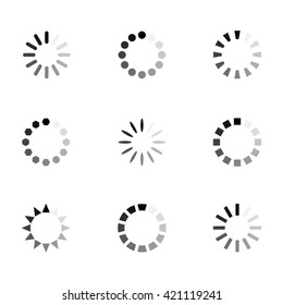 Loading icon vector set in flat style isolated from the background. Monochrome loading  icons for apps and website.