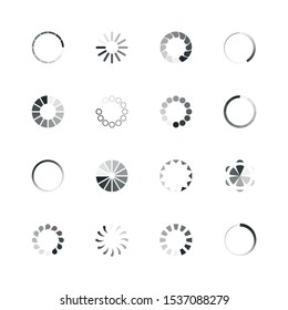 Loading icon. Web ui template loading buffering process progress bar circle rings percent internet vector icon collection