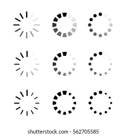 Loading icons. Collection of preloaders. Vector illustration