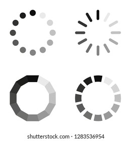Loading icons on a white background, in flat style, vector