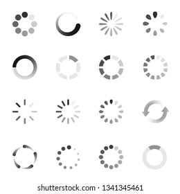 Loading indicator icon set, download symbol collection. Vector flat style cartoon illustration isolated on white background