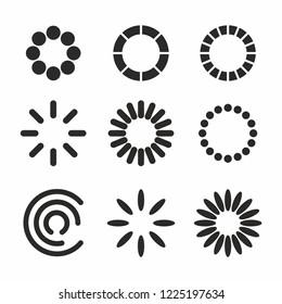 Loading process circular icon set vector. Web icon