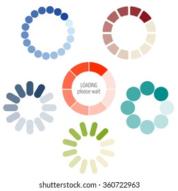 Loading process circular icon set. Color pie chart. Gradient color transition in circle. For visualization of loading applications, games. Smooth color change in rotation. Vector upload, download bar.