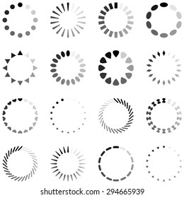 Loading, progress or buffering spinning icons, black and white