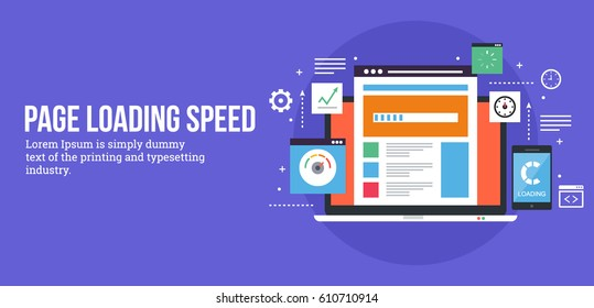 Loading speed analysis of a website, page loading software flat vector illustration with icons