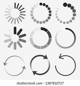Loading status icons, Round progress Bar, buffer and load symbols set. Preloader design elements. Vector