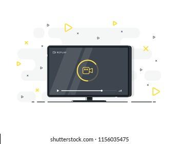 Loading stream TV. Flat LED television display on white background. Vector Illustration.