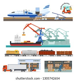 ,Loading and transportation of cargo by air flight by plane, shipping, sea vessel, logistics on train, carriage of goods by truck, sorting on warehouse and delivery by scooter. Vector illustration.