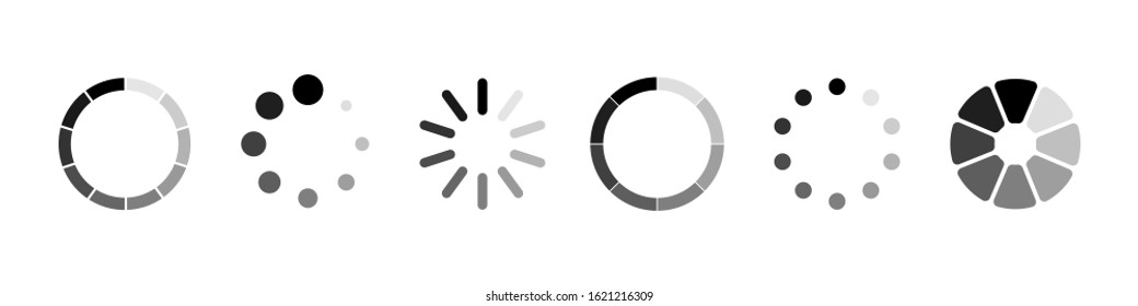 Loading vector icons. Load. Loading for site design. Computer icon. Load system. Data load. Loading bar. EPS 10