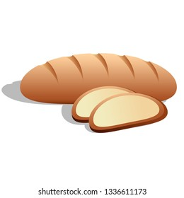 Loaf of bread sliced cartoon icon symbol of bakery, cakes, patisserie for grocery store isolated on white background. Vector illustration
