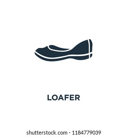 Loafer icon. Black filled vector illustration. Loafer symbol on white background. Can be used in web and mobile.