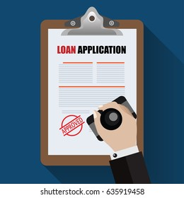 Loan Agreement with Approved stamp. Flat Designed Vector Illustration.