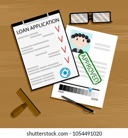 Loan application approved. Mortgage approval, loan concept, vector car loan approved illustration