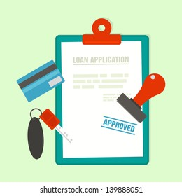 loan application with car key and rubber stamp, vector