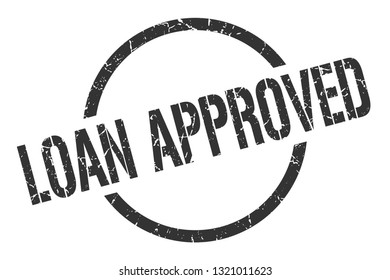 loan approved black round stamp