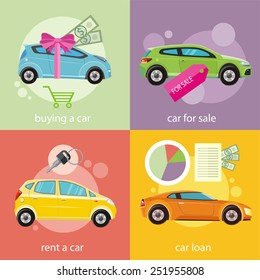 Loan approved document. Buying gift car and red ribbon with dollars money. Concept in flat design