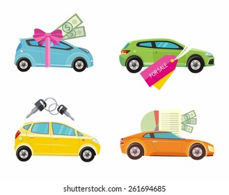 Loan approved document with dollars money. Buying and gift car with red ribbon. Auto sale and rent in flat design