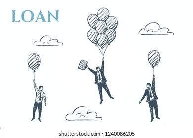 Loan, business concept art sketch. A man clinging to balloons soars faster than competitors. Vector hand drawn illustration.