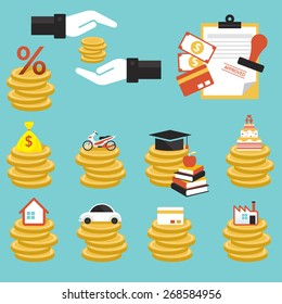 Loan, Coins with Objects Credit, Business Marketing Banking Finance and Money