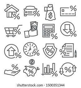 Loan and Credit line icons on white background