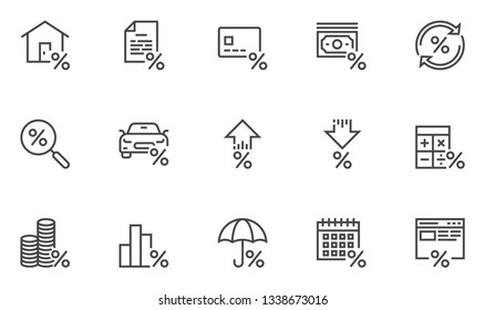 Loan and Credit Vector Line Icons Set. Credit Calculator, Increase and Decrease In Credit Rates, Loan Processing. Editable Stroke. 48x48 Pixel Perfect.