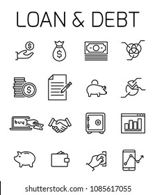 Loan and debt related vector icon set. Well-crafted sign in thin line style with editable stroke. Vector symbols isolated on a white background. Simple pictograms.