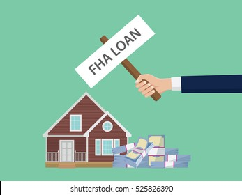 loan fha illustration with hand holding a poster with house and cash money stack