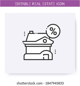 Loan home line icon. Commodate. Gratuitous loan. House for free use.Real estate agency, housing business concept. Lease home and housing amenities. Isolated vector illustration. Editable stroke