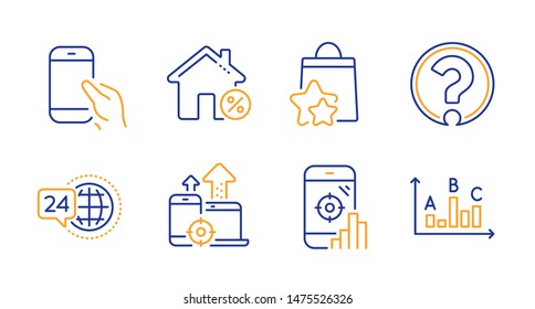 Loan house, Seo devices and Loyalty points line icons set. Seo phone, Question mark and 24h service signs. Hold smartphone, Survey results symbols. Discount percent, Mobile stats. Vector