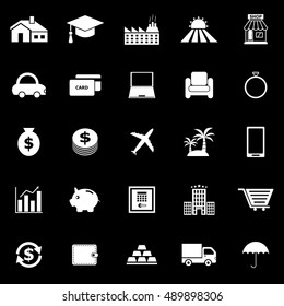 Loan icons on black background, stock vector