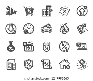 Loan icons. Set of Investment, Interest rate and Percentage diagram icons. Car leasing, analytics plan, Credit card percent and loan rate. Bank mortgage, leasing, interest graph. Vector