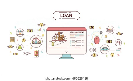 Loan Info graphics design concept. Loan agreement between creditor and debtor. Vector illustration.