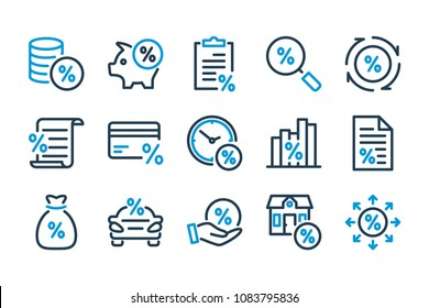 Loan and investment related line icons set. Percentage icons. Vector illustration.