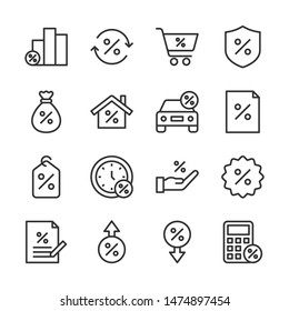 Loan line icons set vector illustration. Contains such icon as decrease, increase, percent, rate and more. Editable stroke