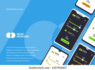 Loan money mobile application concept. Micro credit ui ux interface. Mockup mobile phones with tariff plans on blue background