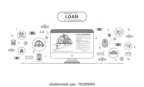 Loan on-line Info graphics. Loan agreement between the lender and the borrower. Flat line icons design contains loan offer, finance, money, bank, creditor, and debtor. Vector illustration.