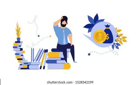 Loan problem man business debt vector financial illustration businessman credit. Crisis finance person concept bankruptcy money investment risk. Bank budget economy trouble. Sad employee borrow