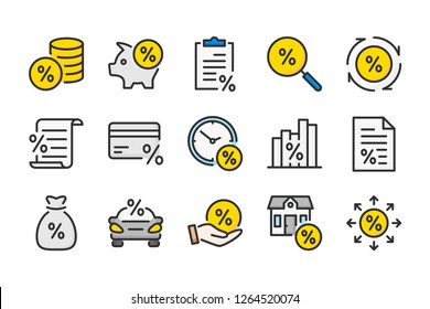 Loan, tax and fees color line icons. Investment and leasing vector linear colorful icon set. Isolated icon collection on white background.