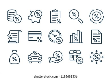 Loan, tax and fees line icons. Discount and Investment vector linear icon set.