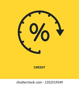 Loan timing icon. Time and interest icon. Clock and percent sign. Banking, Finance concept. Vector illustration for topics like debtor delay, penalty, deadline, business, finance, economy