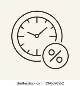 Loan timing line icon. Clock and percent sign in circle. Banking concept. Vector illustration can be used for topics like debtor delay, penalty, deadline